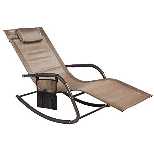 Wostore Patio Chaise Longue Rocking Sunbathing Chair Recliner Movable Sleep Bed Included Removeble Pillow and Storage Hanging Bags Breathable Texteline Farbic Bronze Brown