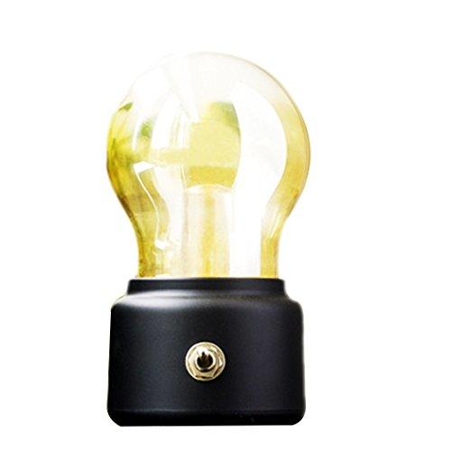 Soriace®Mini LED Tischlampe, Drahtlose Batteriebetrieben Nachtlicht Vintage Lampe neben Tisch und Bett mit USB Ladekabel - Schwarz
