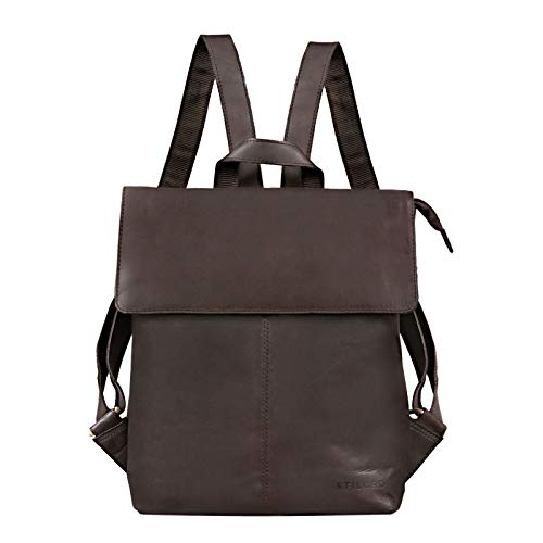 STILORD 'Charlie' Vintage Leather Rugzak Bruin Medium sized Daypack voor Vrouwen Mannen 13,3 inch laptop rugzak gemaakt van echt leer, Kleur:mat - donkerbruin