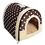 YouthUnion Cama para Mascota, Casa Estera Casera Diseño de Triángulo Edredón Máquina Saco de Dormir Caliente Lavable Cómoda para Gatito Gatos Perros Cachorro Conejo Invierno (S, Color 2)