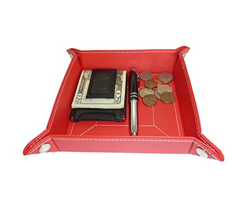 Red Leather Jewelry Mens Catchall Key Wallet Phone Coin Box Tray Storage Valet