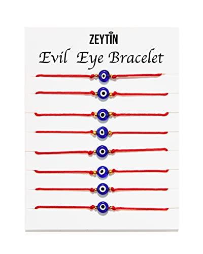 ZEYTIN 8 Pcs Evil Eye Bracelet For Women Men Boys Girls Kids Baby Newborn Adjustable Handmade Red String Bracelet Protection Bracelet Mal De Ojo Bracelets Good Luck Bracelet Kabbalah Evil Eye Jewelry