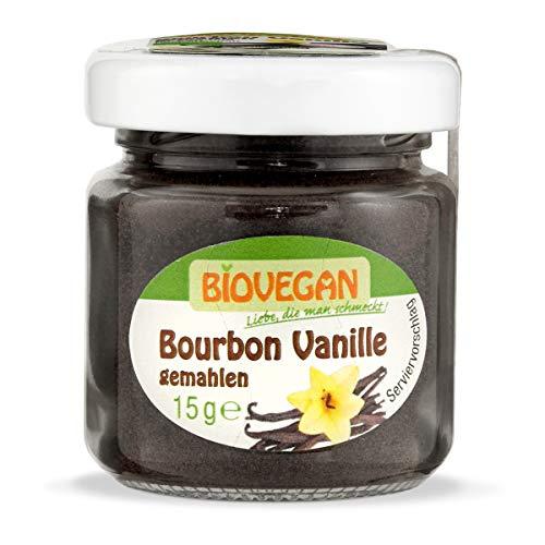 Biovegan Bio Bourbon- Vanille, Vanille gemahlen aus Madagaskar, volles Aroma in wiederverschließbarem Glas, Vanillepulver mit fein-süßem Geschmack 15g