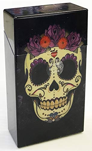 Eclipse Candy Skull Design Crushproof Hard Plastic Cigarette Case, Kings, Choose Your Own Style! 3116CKSULL (Purple Flower)