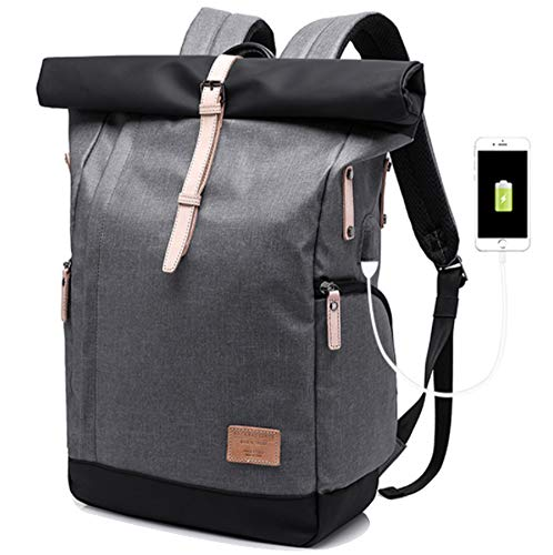 Backpacks, Portable Backpack with USB Charging Port, Travel Anti-theft Daypack Casual School/School Bags/Men/Women, Black Travel Bag - Grey -