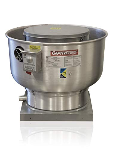 """Low Profile Grease Rated Food Truck Exhaust Fan- High Speed Direct Drive Centrifugal Upblast Exhaust Fan with speed control- 21"""" Base, 0.50 HP 115 Volt Single Phase Motor, 900-1500 CFM (DU50HFA)"""