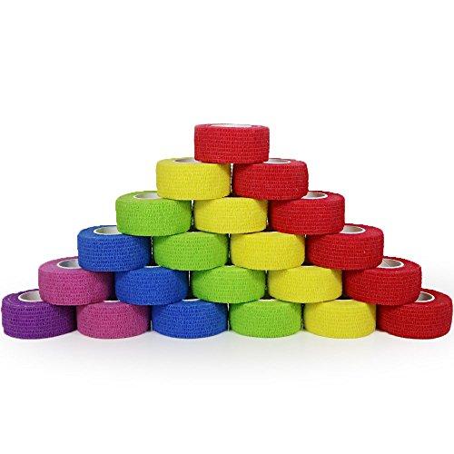 yumai 2,5cm x 4,5m Kit de primeros auxilios dedo cinta adhesiva Vendas Vet Wrap, elástica, flexible, autoadhesiva–24rollos (Multicolor)