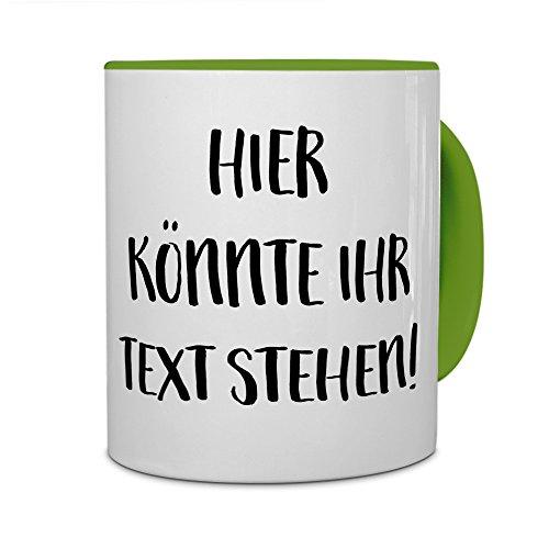 printplanet® - Tasse mit eigenem Text Bedrucken Lassen - Kaffeebecher mit Wunschtext oder Spruch Personalisieren - Becher Grün