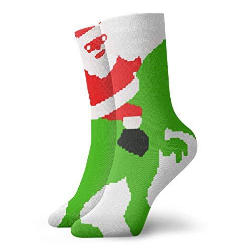 Kevin-Shop Chaussettes de Compression Santa Ride Dinosaure Noël Vacances Haute Cheville Coton Chaussettes Femmes Hommes Léger