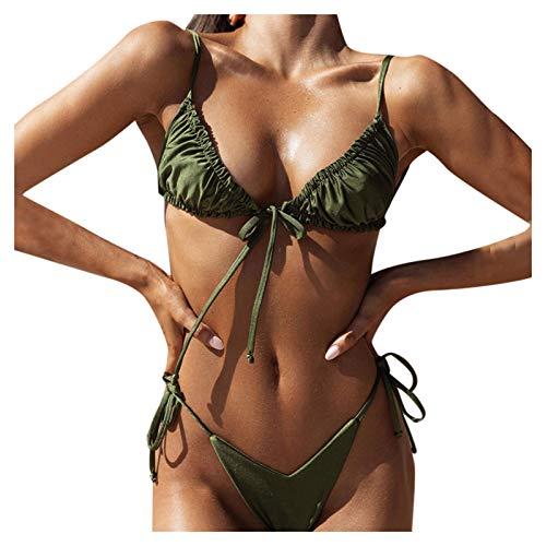 Bilbull Conjunto de bikini acolchado con estampado de leopardo y efecto push-up, traje de baño, ropa de playa, ropa de playa, dos piezas, estampado estampado de verano Verde militar. L