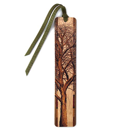Winter Willow Tree in Color Wooden Hand Made Bookmark on Maple with Green Suede Tassel - Search...