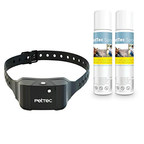 PetTec Antibark Spray Trainer Advance Antibell Erziehungshalsband mit automatischem Sprühsignal, inkl. 2 Sprays (citronella), aufladbarer Akku, Staub- und spritzwassergeschützt