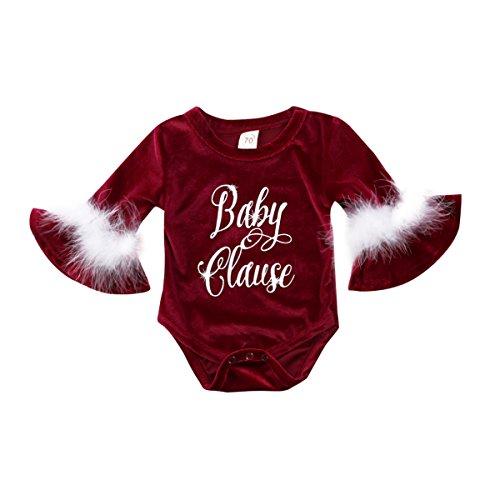 Newborn Baby Girls Christmas Outfits Long Sleeve Santa Claus Romper Xmas Bodysuit Jumpsuit Headband Set 0-24M (0-6M, Baby Clause)