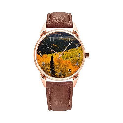 Fashion Quartz Watch Men Watches Top Brand Luxury Male Clock Business Mens Wrist Watch Aspen Trees (Populus Tremuloides) and Conifers Wrist Watch -  AIMAS, Y396-144