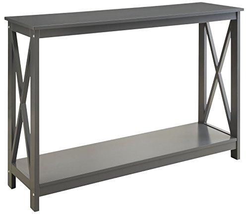 Grey Finish 3-Tier X-Design Occasional Console Sofa Table Bookshelf