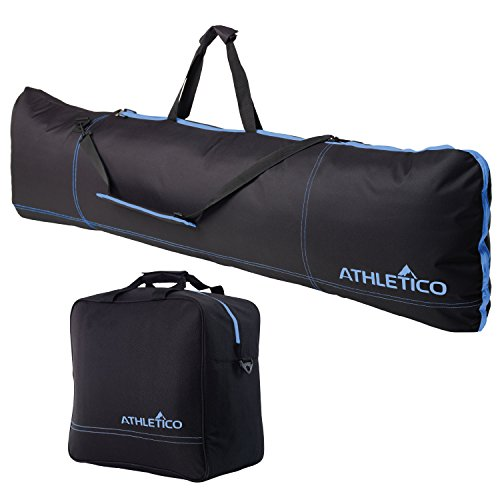 Athletico Padded Two-Piece Snowboard and Boot Bag Combo | Store & Transport Snowboard Up to 165 cm and Boots Up to Size 13 | Includes 1 Padded Snowboard Bag & 1 Padded Boot Bag (Black with Blue Trim)