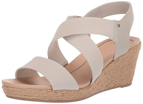 Dr. Scholl's Shoes Women's Emerge Espadrille Wedge Sandal, Oyster Tumbled, 8.5 M US