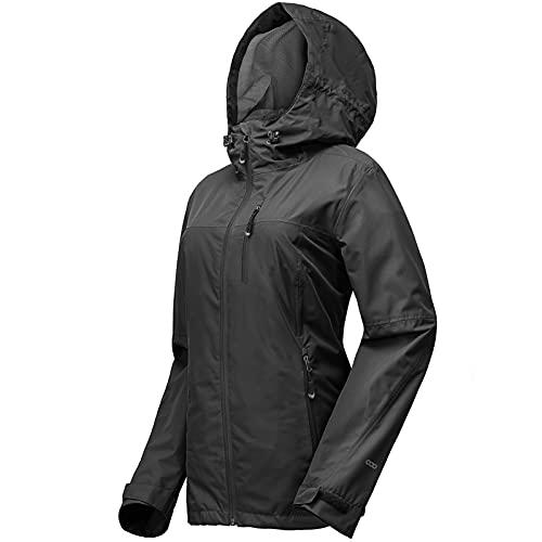33,000ft Regenjacke Damen Wasserdicht Outdoorjacke Atmungsaktiv Herbst Übergangsjacke Leichte Jacke mit Kapuze Windbreaker zum Wandern Reisen Treking Fahrrad schwarz 44