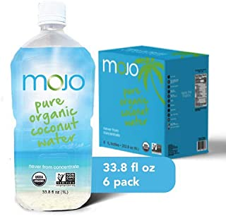 MOJO Pure Organic Coconut Water 1 Liter (6 Pack) Hydrating | Electrolytes | Gluten Free | Potassium | Organic |