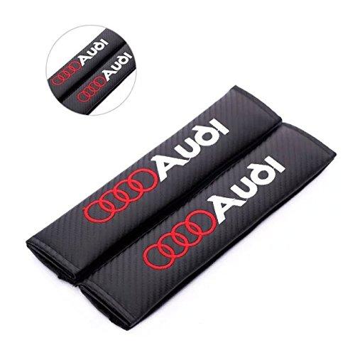 Amooca Carbon Fiber Seat Belt Cover Shoulder Pad for Audi (Red Lettering)