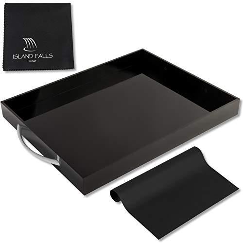 Island Falls Home Black Acrylic Tray - 15x12 Inch Premium Rectangular Black Serving Tray with handles Incl Non Slip Mat Microfiber Cloth Brushed Silver Handles Acrylic Serving Tray Drink Tray