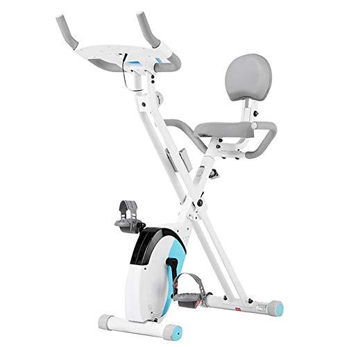 Erru Bicicleta Estática Bicicleta de Ejercicio Plegable Blanca Bicicletas de Ciclismo para Gimnasio en Casa Cubierto, Entrenador Cardio Vertical con Monitor LCD/Asiento Ajustable/Ruedas
