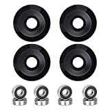 NONMON Skateboard Wheels 52mm 95A with ABEC-9 Bearings, Pack of 4, Solid Black