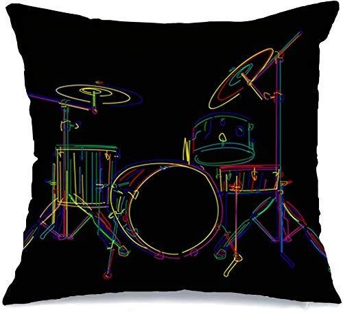 Funda de cojín Throw Cojín Caso Funda de Almohada Conjunto de bajo de música estilizada Kit de silueta de tambor Diseño gráfico aislado sobre la línea Transporte negro 45 X 45 CM