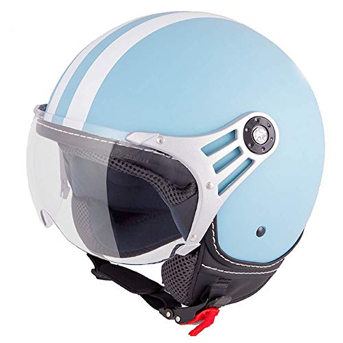 Vinz Fiori Roller Helm Jethelm Fashionhelm |in Gr. XS-L | Jet Helm mit Streifen | ECE Zertifiziert | Motorradhelm mit Visier | Hellblau