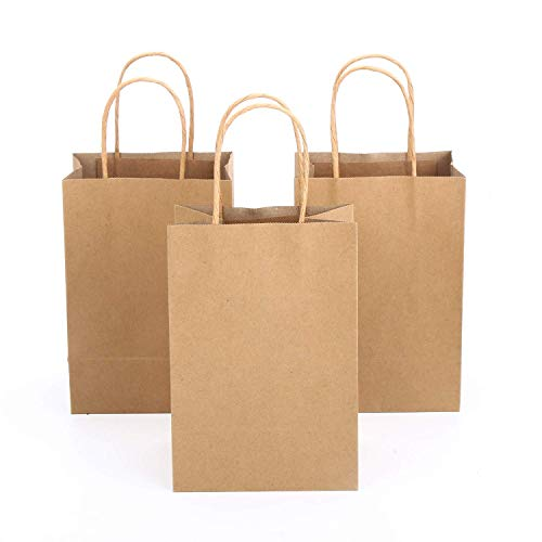 DERAYEE 24 Pcs Craft Paper Bags, 5.5 * 3.8 * 8in Shopping Bags Bulk with Handle, Gifts, Merchandise, Retail, Brown Paper Bag Party Supplies