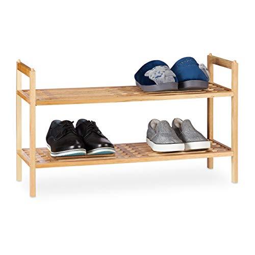 Relaxdays Schuhregal stapelbar, Schuhablage mit 2 Etagen, Walnuss Holz, bis zu 6 Paar Schuhe, HBT 41 x 69 x 27 cm, natur