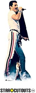 Star Cutouts CS700 Lifesize Cardboard Figure of Freddie Mercury 1982 Colour with Free Desktop Standup Standee Perfect for Fans, Parties, Collectors and Events, Multicolour