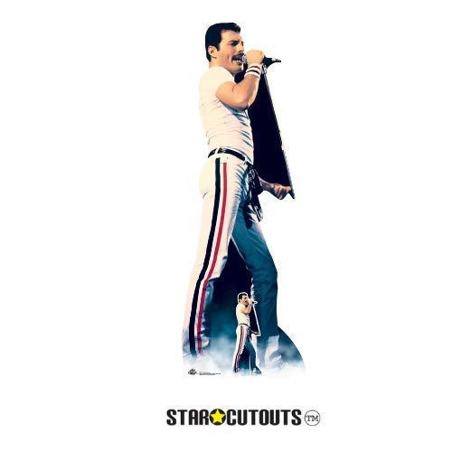 Star Cutouts CS700 Lebensgröße Papp-Figur von Freddie Mercury 1982 Farbe mit freistehendem Aufsteller, perfekt für Fans, Partys, Sammler und Veranstaltungen, mehrfarbig