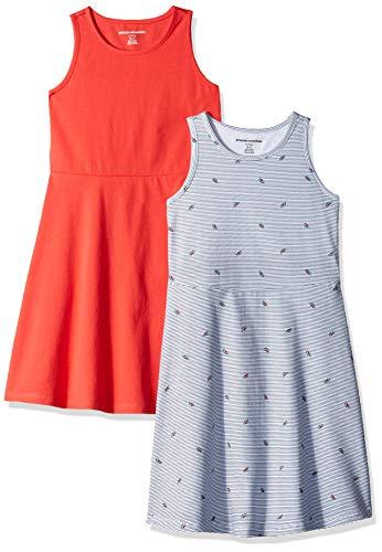 Amazon Essentials Girl's 2-Pack Tank Dress, Watermelon/Pink, Medium