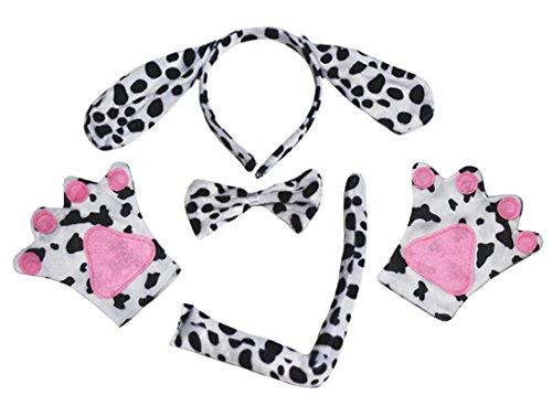 Dalmatiner-Kostüm für Kinder, Stirnband, Fliege, Schwanz und Handschuhe, 4-teilig, für Geburtstage und Partys Gr. One size, Gepunktet