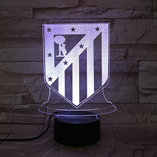 WoloShop Lampara LED Atlético de Madrid Cambia Color USB Luz Nocturna