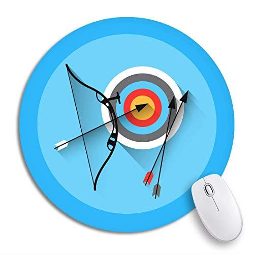 HENTIN Alfombrilla Redonda para Mouse Objetivo Tiro con Arco Flecha Equipo Objetivo Deporte Plano Práctico Base de Goma Antideslizante Activa Alfombrilla para ratón Alfombrilla para Juegos