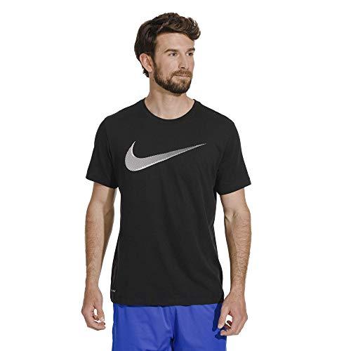 Nike Men's Dry Training Tee Large Swoosh, Black/White, 3X T