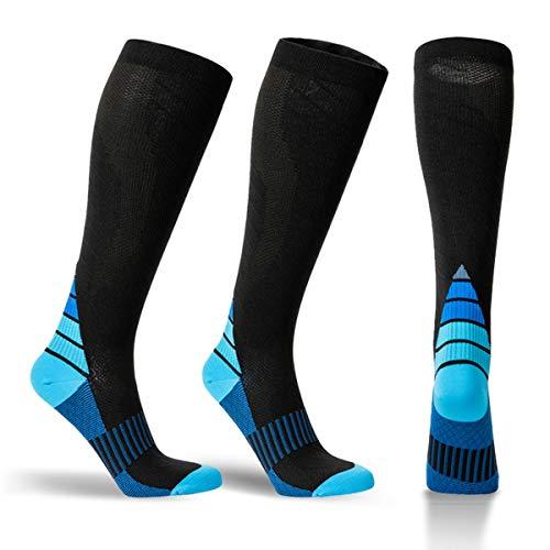 Alvada Compression Socks for Men & Women B Pattern 1 Pair Black Blue S