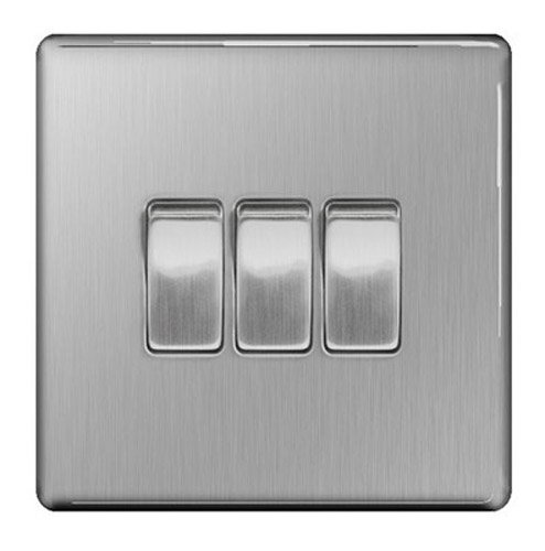 Screwless Flat Plate Brushed Stainless Steel 10AX Light Switch 3 Gang 2 Way