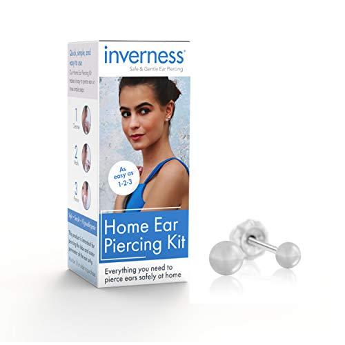 Inverness Ohrpiercing-Set in medizinischer Qualität, Einweg-Pistole für Ohrringe, sicher und einfach zu verwenden, ideal für den professionellen Einsatz und zum Selberstechen, 3 mm Kugel