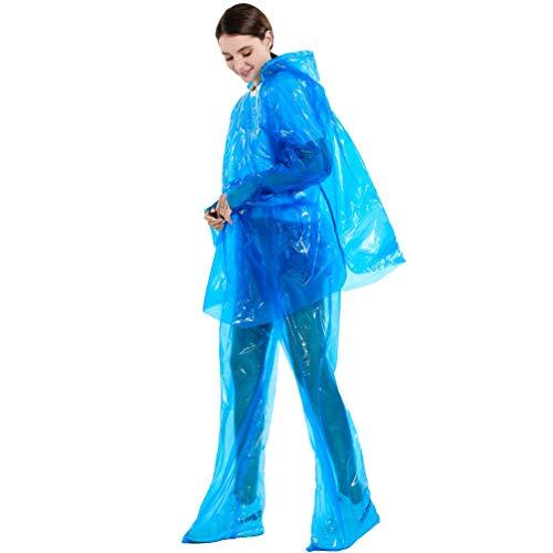 Garneck 3 Sets Wegwerp Regenjassen en Broeken Twee Stuk Regenpakken Winddicht Waterdicht Poncho Outdoor Regenkleding voor Wandelen Fietsen Werken (Blauw), Medium, Blauw