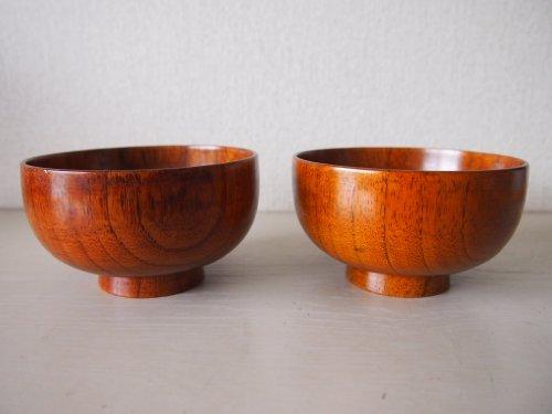 木製汁椀天然木漆塗り(漆器)2個セット