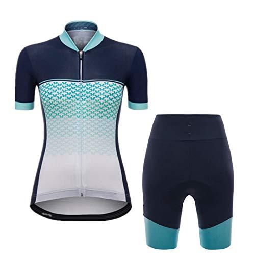 X-Labor - Maglia da ciclismo da donna, traspirante, a maniche corte + pantaloni da ciclismo con imbottitura 3D, abbigliamento da ciclismo per esterni, taglia A-blu, 2XL
