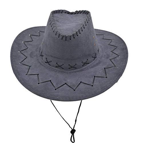 None Western Unisex Erwachsene Leder Wildleder Cowboy Geschenke Für Frauen Hut Breiter Krempe Sonne Kappe Baseball Fashion Outdoor Mützen Hut (Color : Dunkelgrau, Size : One Size)