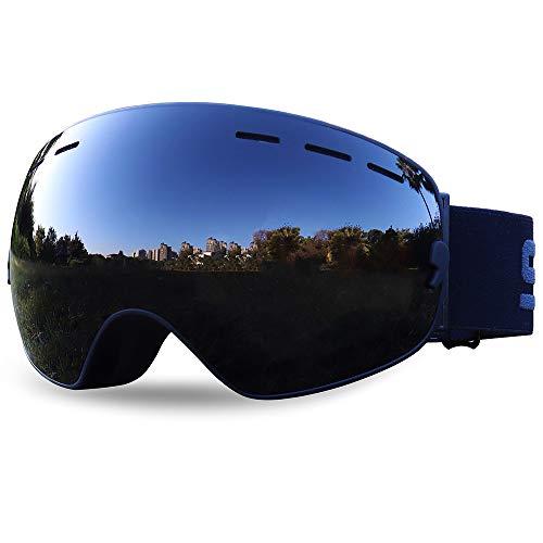 アップグレードされたOTGフレームレススキーゴーグルダブル防曇球面交換レンズスキースノースノーボードゴーグルメンズレディースユースUVプロテクション400