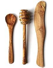 Juego de desayuno y condimentos de madera de olivo   cuchillo de mantequilla   cuchara de mermelada   cuchara de miel   cuchara de miel