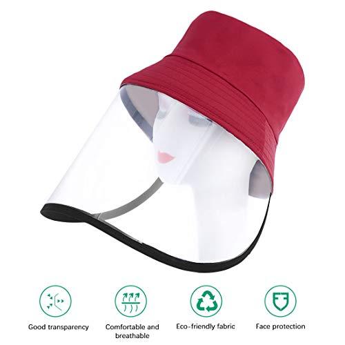 Fischerhut Outdoor UV Schutz Baseball Cap Travelling Sun Hat mit abnehmbarem Visier Gesichtsschutz,wasserdicht und staubdicht, Outdoor-Sonnenschutz,Spritzer,56-58cm-Wein rot