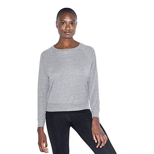 American Apparel Damen Tri-Blend Lightweight Long Sleeve Pullover Hemd, Grau-Athletic Grey, Mittel