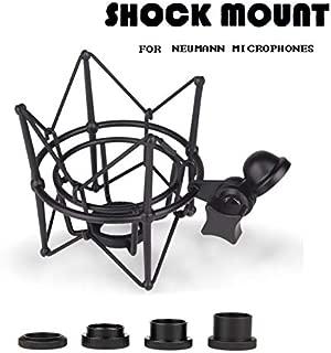 Microphone Shock Mount for Neumann U87 U89i TLM127 TLM170 M150 TLM193 D01 M147 Recording Studio Pro Audio Suspension Holder Whole Metal (Black)